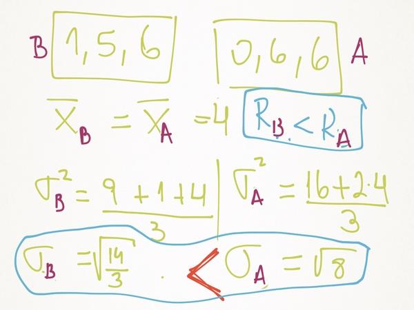 hola, mi duda es: si dos muestras, de tres datos cada una, tienen iguales medias aritmeticas; pero la muestra A tiene mayor desviacion estandar que la muestra B; entonces puede ser que el rango de la muestra B sea mayor que el rango de la muestra A? el ensayo dice que si:/ pero yo no lo veo posible