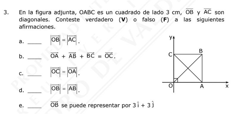 Por que la letra c) es verdadera? segun yo OC = 0,3 Y OA= 3,0