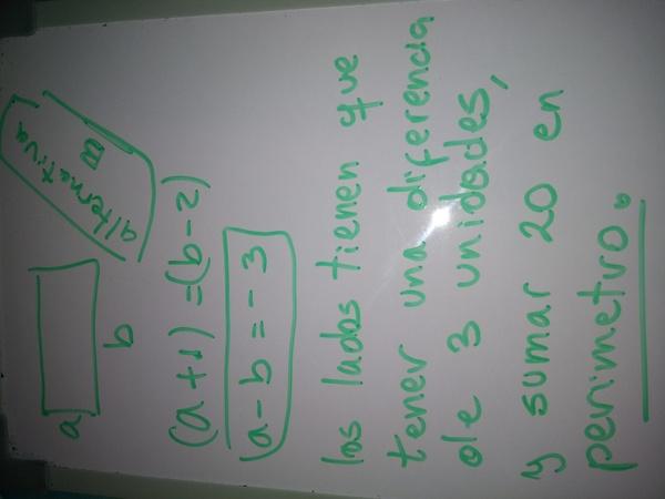El perímetro de una sala rectangular es 20m. Si el largo se disminuye en 2m y el ancho se aumenta en 1m, la sala se hace cuadrada. Las dimensiones de la sala son A) 5,5m de largo y 2,5m de ancho  B) 6,5m de largo y 3,5m de ancho  C) 5,5m de largo y 5m de ancho D) 6m de largo y 3m de ancho  E) 65m de largo y 35m de ancho Una explicación por favor?:(