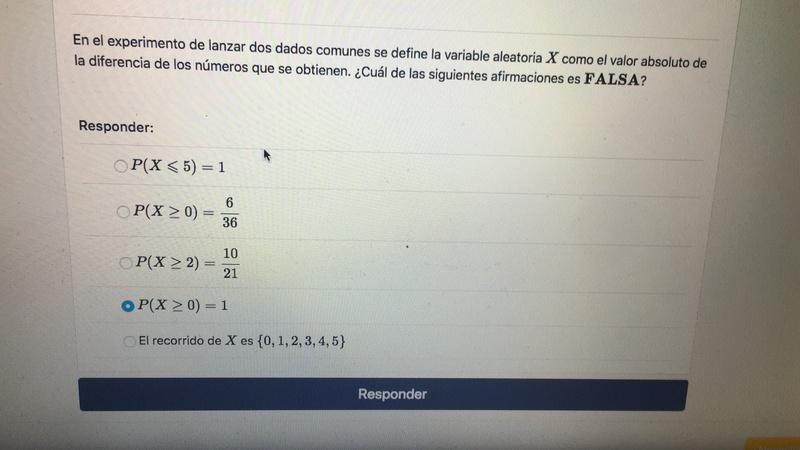Hola, me podrían ayudar en la pregunta numero 13 de variable aleatoria discreta. Según yo es la alternativa P(X≥0)= 6/36, pero la pauta dice que es la que está marcada