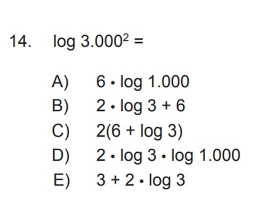 DUDA LOGARITMO 2! En una imagen aparece la pregunta y en la otra la resolucion. No entiendo de donde sale el (+6), según yo quedaria solo ( 2x Log 3+ 3) ya que que el Log 10 queda solo como 1.  Debe darme la alternativa B)