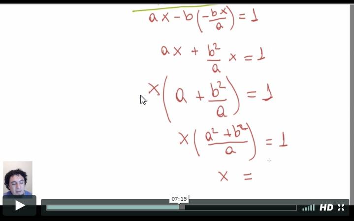 En la clase 2 de números complejos, en esta parte de la demostración del inverso multiplicativo de Z, no entiendo esa parte en que se factoriza por X pero luego el A + b^2/A, pasa a A^2 + b^2/A, mi duda es, cómo o por qué se eleva ese A ---> A^2 ?