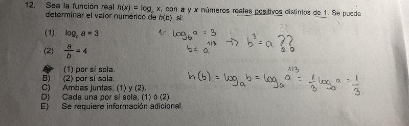 ayuda, no logro ententer por qué el resultado del ligaritmo da que b= a elevado a 1/3