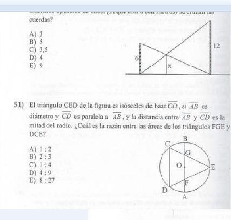 Hola buenas alguien me podria explicar somo se hace la pregunta 51? la opcion correcta es la D segun una pauta pero no se como llegar a ese resultado... y en cuanto a la pregunta 50 se ocupa thales y/o semejanza? Saludos y gracias!