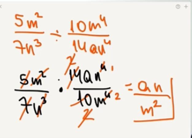 No entiendo porque al estar simplificando. En el caso del 7N al cubo y el 14AN a la cuarta los exponenetes se restan quedando como resultado AN.